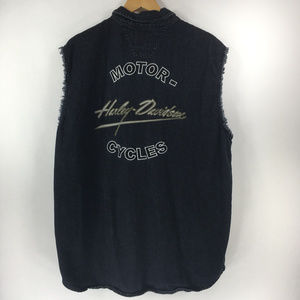 Harley Davidson XL Black Denim Vest Jean Jacket